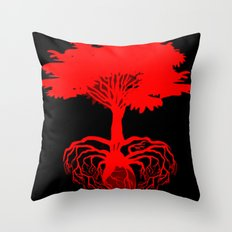 Heart Tree - Red Throw Pillow