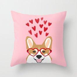 Corgi heart glasses dog breed valentines day welsh corgis gifts Throw Pillow