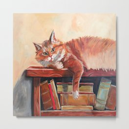 Red cat on a bookshelf Metal Print