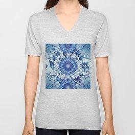 Blue Poppy Mandalas Unisex V-Neck