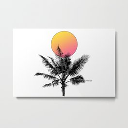 Palm Tree with a Sun Metal Print