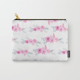 Blush pink gray watercolor hand painted elegant floral Carry-All Pouch