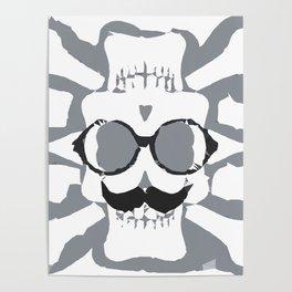 old funny skull art portrait in black and white Poster