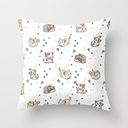 Kawaii cute cats Throw Pillow