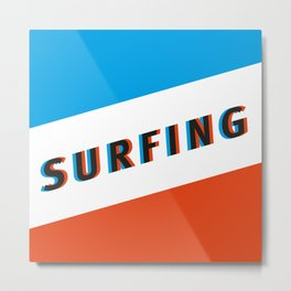 SURFING 3D - Square Metal Print