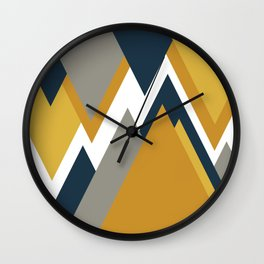 Geometricscape Modern Angular Pattern in Light and Dark Mustard, Gray, and Navy Blue on White  Wall Clock