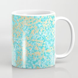 Abstract teal white faux gold modern pattern Coffee Mug