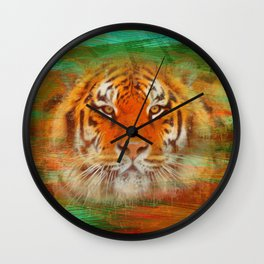 Tiger head on painted texture Wall Clock