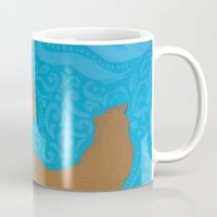 otters Mugs featuring Two Otters by LegendOfZeldy