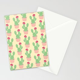 Cactus Pattern Illustration in Bloom Green Pink Yellow Stationery Cards