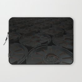Dark futuristic technological shape with glowing lines Laptop Sleeve