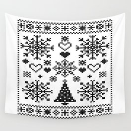 Christmas Cross Stitch Embroidery Sampler Black And White Wall Tapestry