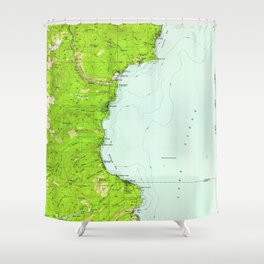 Vintage Map of Tahoe California (1955) Shower Curtain
