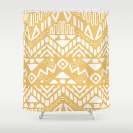 Tribal yellow ochre mudcloth Shower Curtain