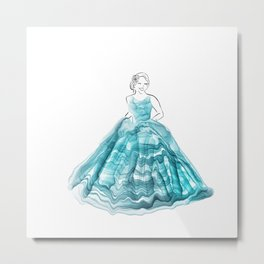 Girl In Teal Alcohol Ink Ball Gown Metal Print