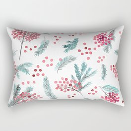 Red berries and fir twigs watercolor Rectangular Pillow