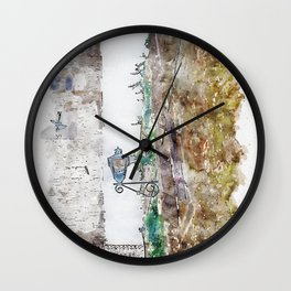 Aquarelle sketch art. Beautiful ancient stone buildings in Istria, Croatia Wall Clock