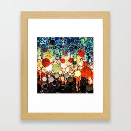 Contemporary Blue Orange Bubble Abstract Framed Art Print