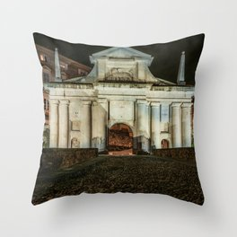 Front view of Porta San Giacomo in the upper city of Bergamo. Night cityscape. Throw Pillow