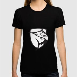 Blue Marlin Jumping Crest Black and White T-shirt