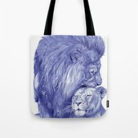 lions Tote Bags featuring Lions by Rafael Augusto