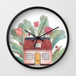 Floral house watercolor Wall Clock
