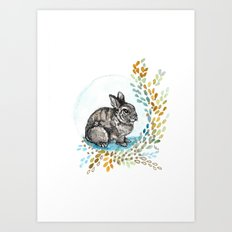 Rustic Rabbit Art Print