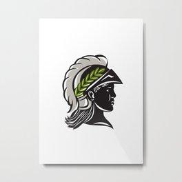 Minerva Head Profile Silhouette Retro Metal Print