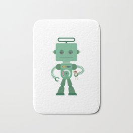 Giant green robot with a toy human Bath Mat