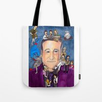 robin williams Tote Bags featuring Robin Williams  by Aviva Bubis Art and Stuff