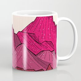 The falling snow and the mountains Coffee Mug