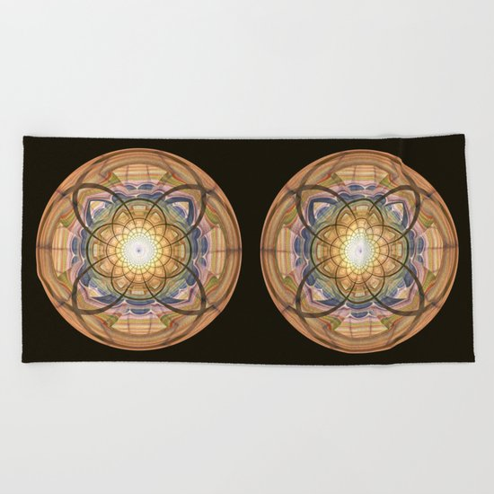 Groovy mandala with wild patterns Beach Towel