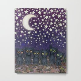 black cats, stars, & moon Metal Print