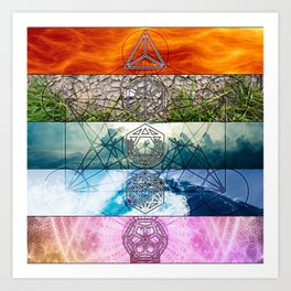 Platonic Solids with Metatron's Cube and Flower of Life Smooth Hexagon Art Print