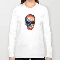 puerto rico Long Sleeve T-shirts featuring Dark Skull with Flag of Puerto Rico by Jeff Bartels