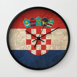 Old and Worn Distressed Vintage Flag of Croatia Wall Clock
