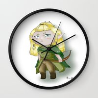 legolas Wall Clocks featuring Chibi Legolas by Miss No!