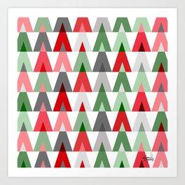 Geometric Triangles | red green white Art Print