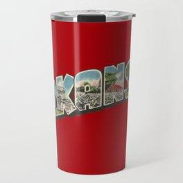Arkansas Vintage Big Letter Travel Mug