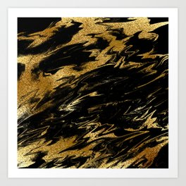 Luxury and sparkle gold glitter and black marble Art Print