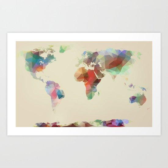 World Map //// Geometric II Art Print