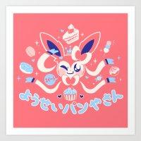 "sylveon Art Prints featuring ""Sweet"" Fairy Bakery by Miski"
