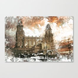 Manti LDS Temple Watercolor Photo Canvas Print