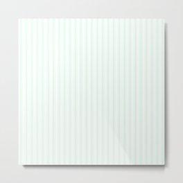 Summermint Pastel Green Matress Ticking on White Metal Print