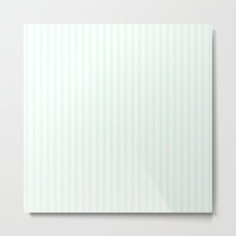 Summermint Pastel Green Matress Ticking on White Metal Print