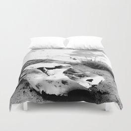 Desert Skull in Black and White Photography Duvet Cover