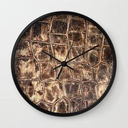 Alligator Skin // Tan and Brown Worn Textured Pattern Animal Print Wall Clock