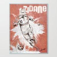 zidane Canvas Prints featuring Zinedine Zidane by Renato Cunha