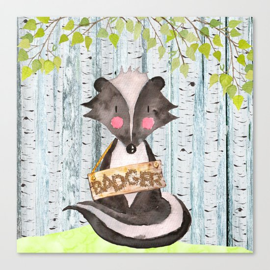Badger- Woodland Friends- Watercolor Illustration Canvas Print