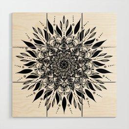 MANDALA black an white 1 Wood Wall Art